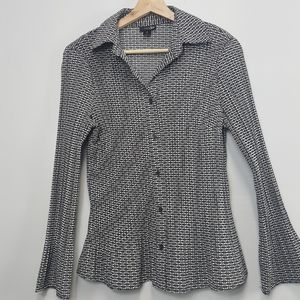 East 5th black and white blouse
